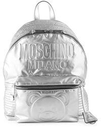 Moschino - Embossed Teddy Bear Backpack - Metallic - Lyst