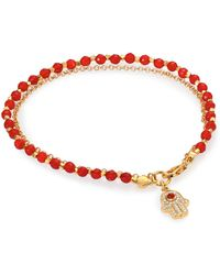 Astley Clarke - Biography Red Agate & White Sapphire Hamsa Beaded Friendship Bracelet - Lyst