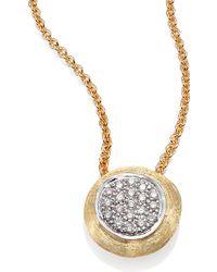 Marco Bicego - Delicati Diamond, 18k Yellow & White Gold Pendant Necklace - Lyst