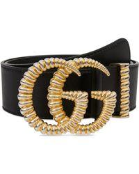 e800079656d Lyst - Gucci Logo Leather Belt in Blue