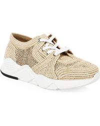 836ab267e407 Clergerie - Women s Raffia Woven Trainers - Natural - Size 36 (5.5) - Lyst