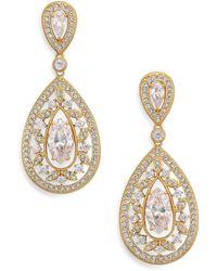 Adriana Orsini - Pavé Crystal Small Pear Drop Earrings/goldtone - Lyst