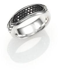 David Yurman - Pavé Band Ring With Black Diamonds - Lyst