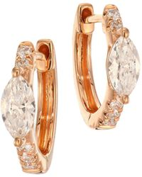 Anita Ko - Marquis Diamond & 18k Rose Gold Huggie Earrings - Lyst