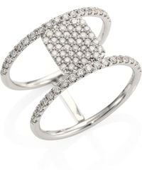Meira T - Pave Diamond & 14k White Gold Double-band Ring - Lyst