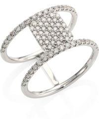 Meira T - Pavé Diamond & 14k White Gold Double-band Ring - Lyst