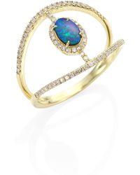 Meira T - Diamond, Opal & 14k Yellow Gold Ring - Lyst
