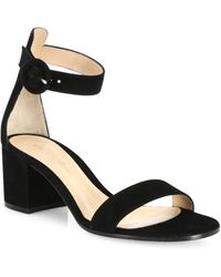 Gianvito Rossi - Texas Suede Block Heel Sandals - Lyst