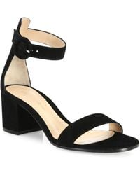 Gianvito Rossi - Women's Texas Suede Block Heel Sandals - Black - Lyst