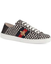 Gucci - New Ace Foldback Bee Dots Jacquard Sneakers - Lyst