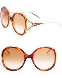 Gucci - Urban 56mm Round Sunglasses - Lyst