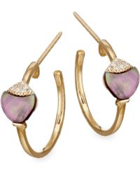 Nayla Arida - Grey Mother-of-pearl White & Brown Diamonds Hoop Earrings - Lyst