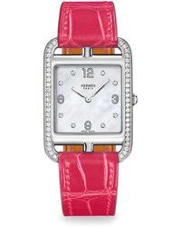 Hermès | Cape Cod Diamond, Mother-of-pearl & Alligator Strap Watch | Lyst