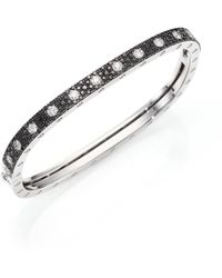 Roberto Coin | Pois Moi Diamond, Black Sapphire & 18k White Gold Single-row Bangle Bracelet | Lyst