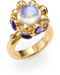 Temple St. Clair | Royal Blue Moonstone, Tanzanite, Diamond & 18k Yellow Gold Cabochon Cluster Ring | Lyst
