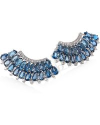 Hueb - Mirage Diamond & London Blue Topaz Ear Crawlers - Lyst