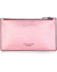 COACH - Zip Leather Card Case - Lyst