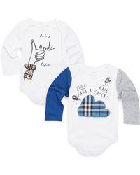 Burberry - Baby's Two-piece London Cotton Bodysuit Set - Lyst
