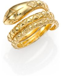 Temple St. Clair - Tree Of Life 18k Yellow Gold Double Serpent Ring - Lyst