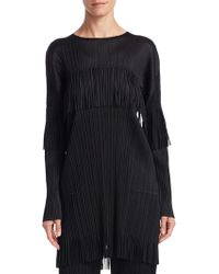 Pleats Please Issey Miyake - Long Sleeve Fringe Tunic Dress - Lyst