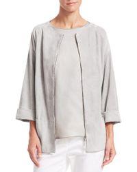 Fabiana Filippi - Suede Quarter-sleeve Zip-front Jacket - Lyst