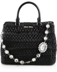Miu Miu - Nappa Crystal Quilted Leather Satchel - Lyst