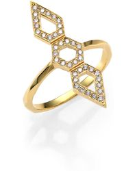 Ron Hami - Orighami Pavé Diamond & 18k Yellow Gold Three-shape Totem Ring - Lyst
