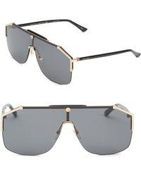 3c7a1f9e31 Gucci - Men s 99mm Shield Sunglasses - Black Gold - Lyst