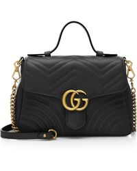 Lyst - Gucci Gg Marmont Chevron Quilted Leather Bucket Bag in Black 4a4b8b446e471