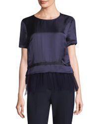 Peserico - Short Sleeve Tulle Hem Top - Lyst