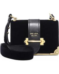 1e28de9a563e Prada Bandoliera Velvet Chain Camera Bag in Black - Lyst