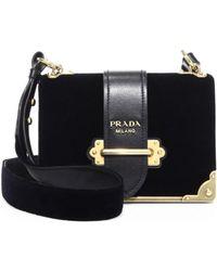 ed54da24064c Prada - Cahier Velvet & Leather Shoulder Bag - Lyst