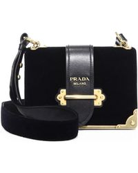 b1563c95b4219a Prada - Cahier Velvet & Leather Shoulder Bag - Lyst