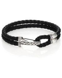 John Hardy - Classic Chain Silver Hook Station Leather Bracelet - Lyst