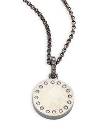 Rene Escobar - Medium Diamond & Sterling Silver Round Pendant - Lyst