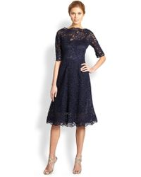 Teri Jon - Embroidered Lace & Tulle Flare Dress - Lyst