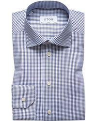 Eton of Sweden - Slim-fit Navy Grid Dress Shirt - Lyst