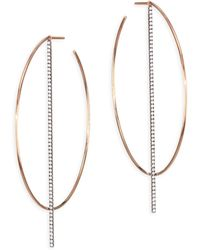 Diane Kordas - Bar Diamond & 18k Rose Gold Hoop Earrings - Lyst
