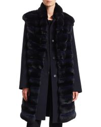 Manzoni 24 - Two-piece Wool-blend Coat & Vest With Chinchilla Front - Lyst