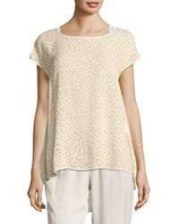 Eileen Fisher - Confetti Laser Cut Silk Top - Lyst