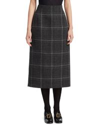 Dior - Check Wool Pencil Skirt - Lyst
