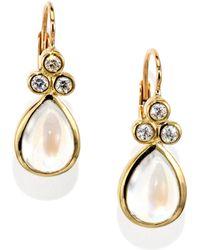 Temple St. Clair - Royal Blue Moonstone, Diamond & 18k Yellow Gold Teardrop Earrings - Lyst