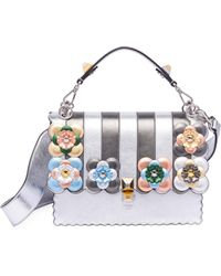 Fendi - Kan I Floral-detail Metallic Leather Shoulder Bag - Lyst d27f4b77c5b33