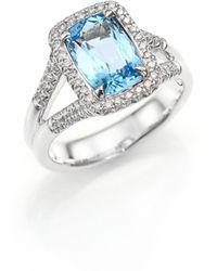 John Hardy - Classic Chain Diamond, Blue Topaz & Sterling Silver Ring - Lyst