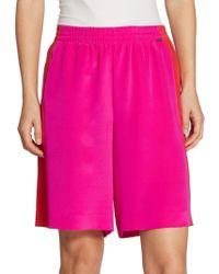 St. John - Contrast Panel Silk Shorts - Lyst