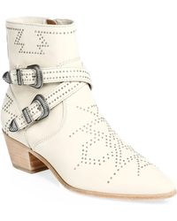 Frye - Ellen Leather Buckle Booties - Lyst