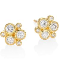 Temple St. Clair - Women's Classic Trio Diamond & 18k Yellow Gold Stud Earrings - Gold - Lyst