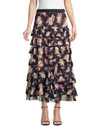 Rebecca Taylor - Bouquet Tiered Silk Blend Chiffon Skirt - Lyst
