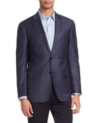 Emporio Armani - Wool Tartan Check Blazer - Lyst