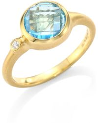 Carelle - Blue Topaz & Diamond 18k Yellow Gold Stack Ring - Lyst